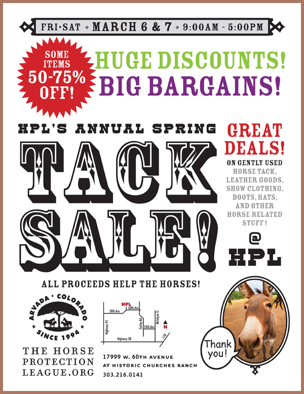 Come to our Annual Tack Sale for great deals!